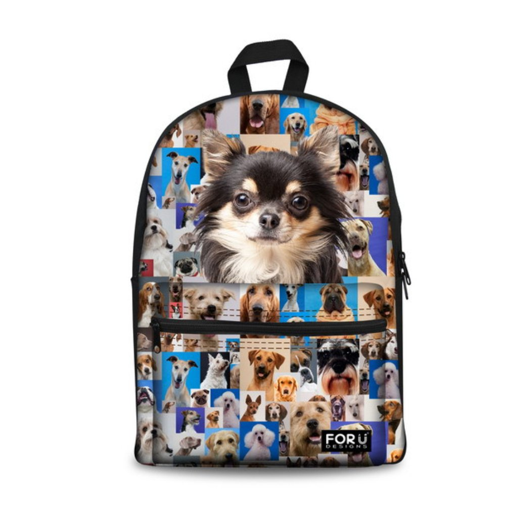 3PCS Dog Chihuahua Puppy Girls School Bags Backpack Book Lunch Pencil Case set