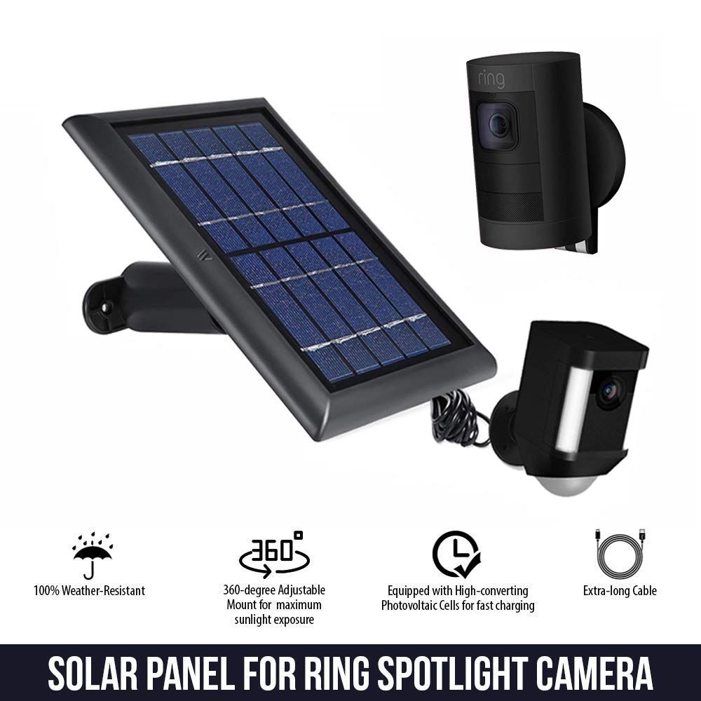 Solar Panel for Ring Spotlight Camera, Power Your Ring Spotlight Cam continuously with Our New Solar Charger – by Wasserstein (Black) by Wasserstein (Image #3)