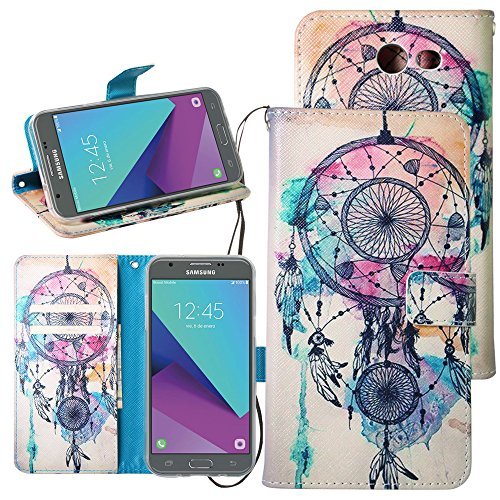 For Samsung Galaxy J3 Emerge / J3 Prime / J3 Mission / J3 Eclipse / J3 Luna Pro / Sol 2 / Amp Prime 2 / Express Prime 2 Case,Harryshell Kickstand Flip PU Wallet Leather Case w Card Slot Wrist Strap
