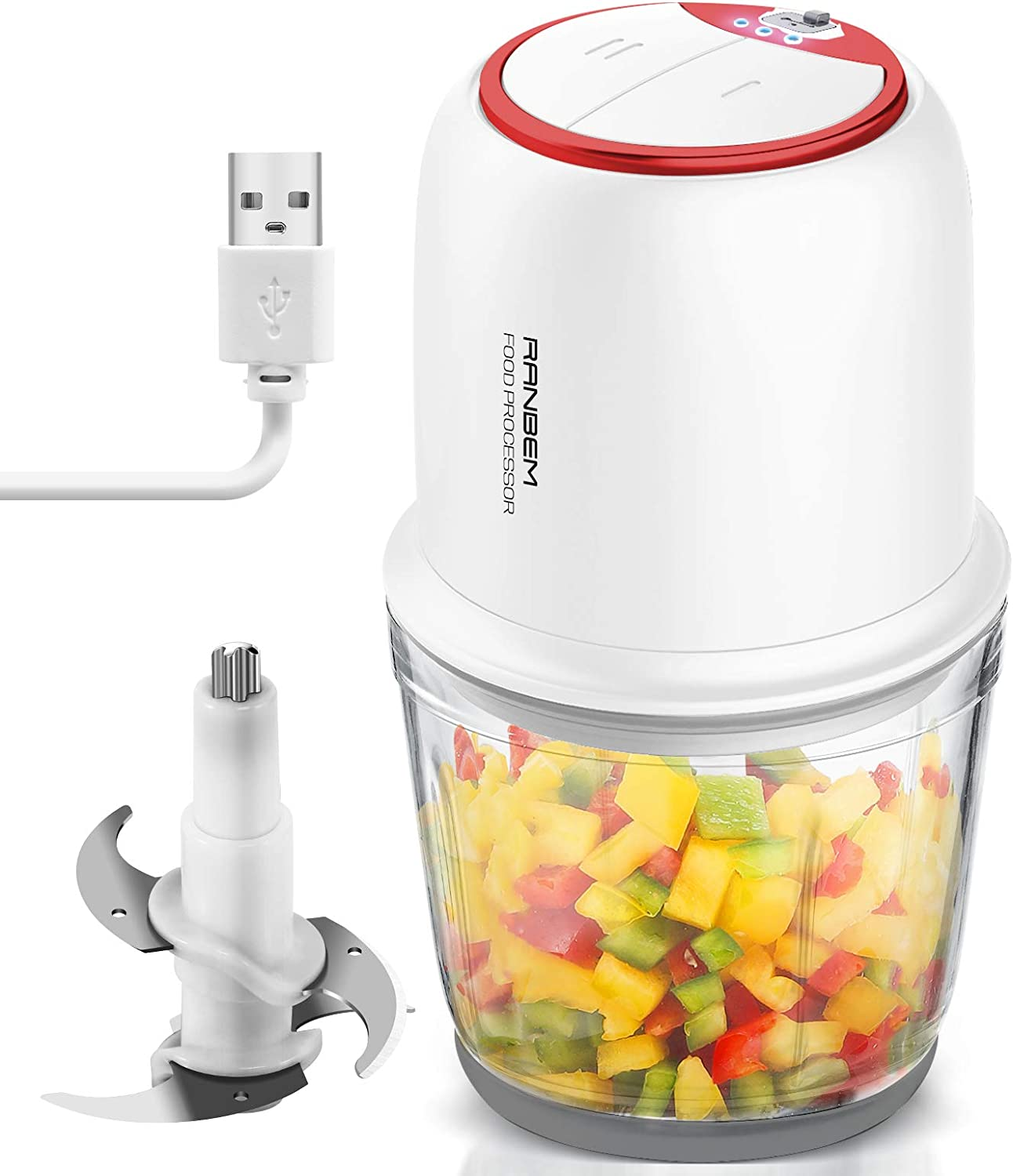 RANBEM Mini Food Processor Chopper - USB Cordless Small Vegetables Chopper with 2.5 Cup Glass Bowl for Mincing, Electric Chopper for Garlic, Onion, Meat 2-Speed White