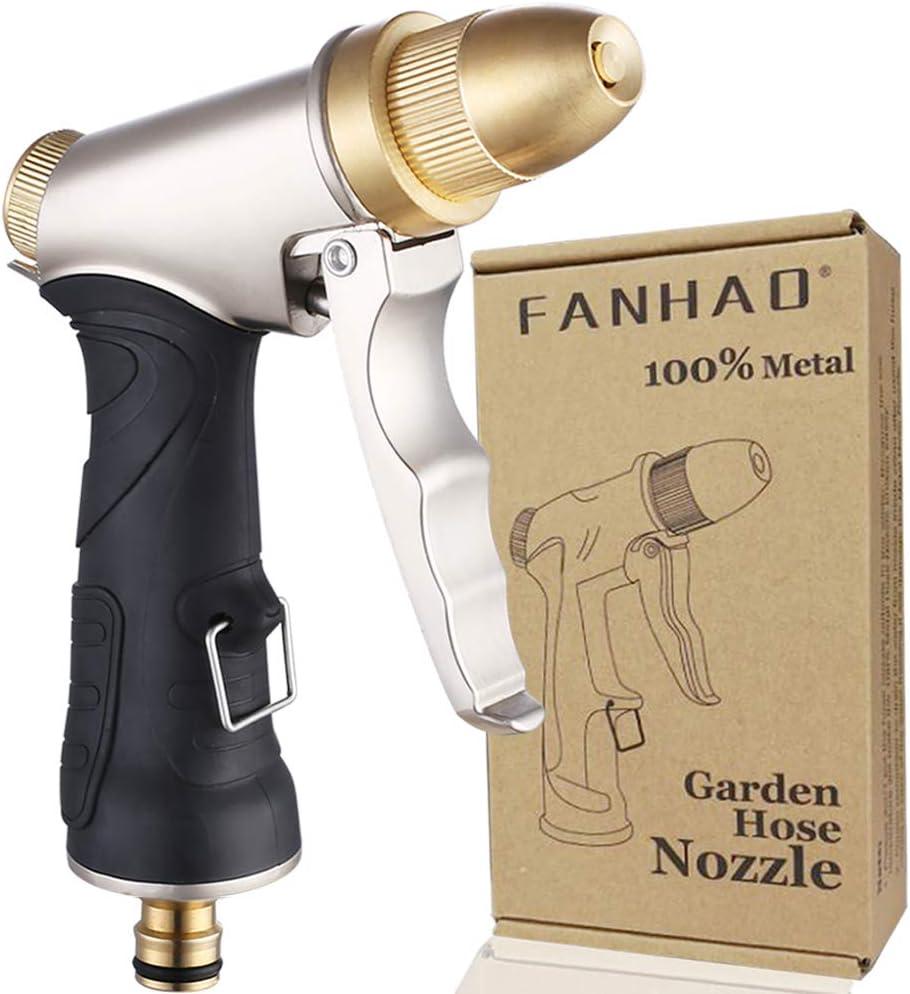 FANHAO Pistola de manguera de jardín con boquilla de latón completa, pistola de riego pistola de manguera de agua de alta presión resistente ajustable de chorro a spray