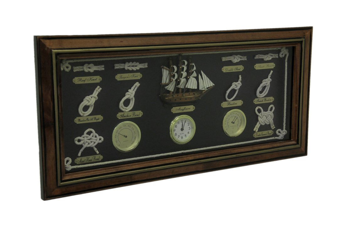 Zeckos Wood Framed Nautical Knot Board Hygrometer Thermometer Wall Clock by Zeckos