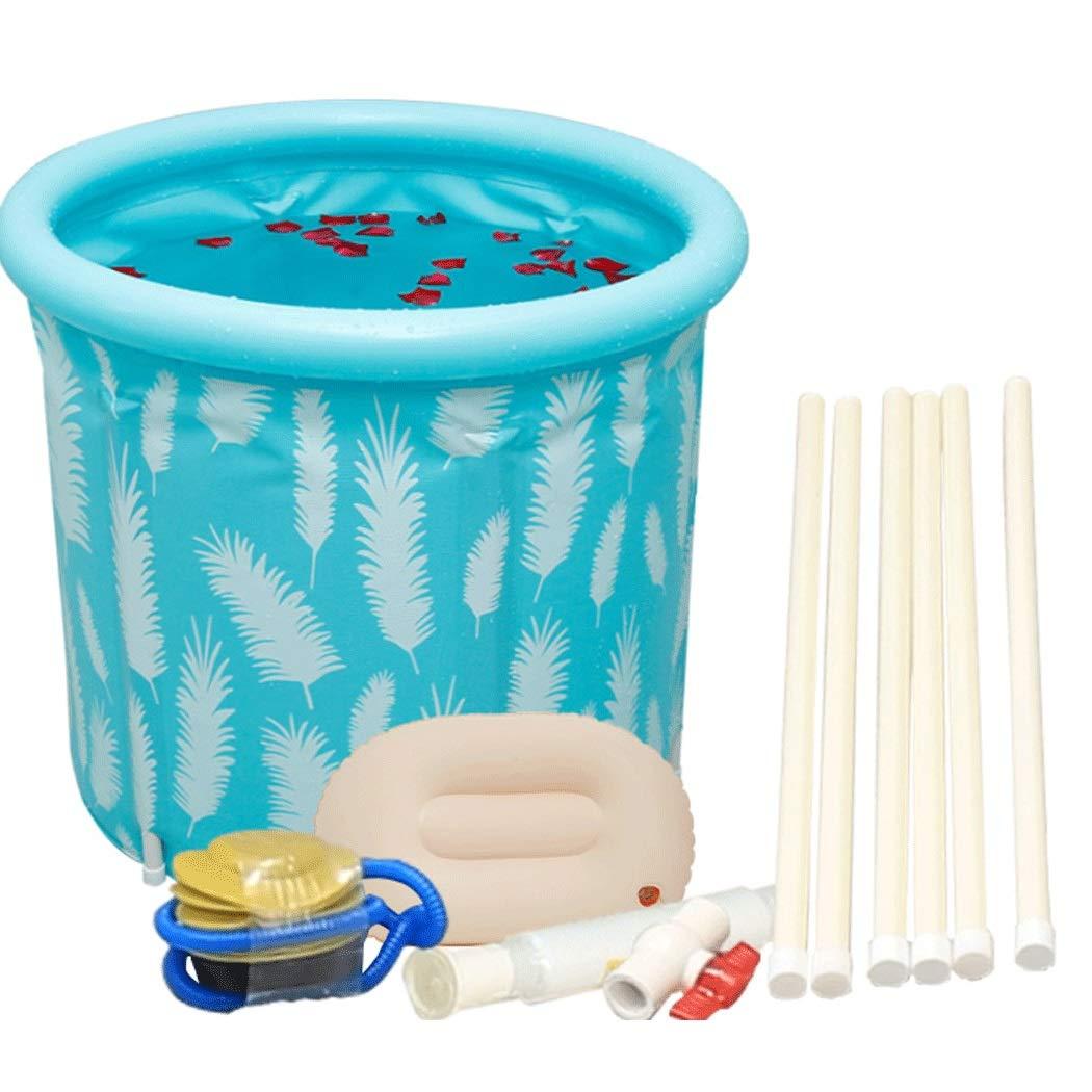 YONGYONG Blue Household Large Folding Bath Barrel Bath Barrel Body Adult 65cm*65cm, 70cm*70cm (Color : Light Blue, Size : 70cm*70cm)