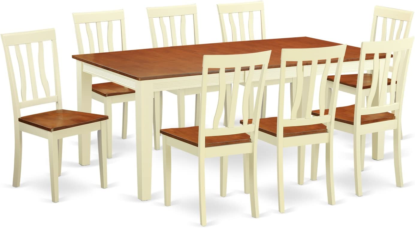 QUAN9-WHI-W 9 PC Kitchen nook Dining set -Dining Table and 8 Dining Chairs