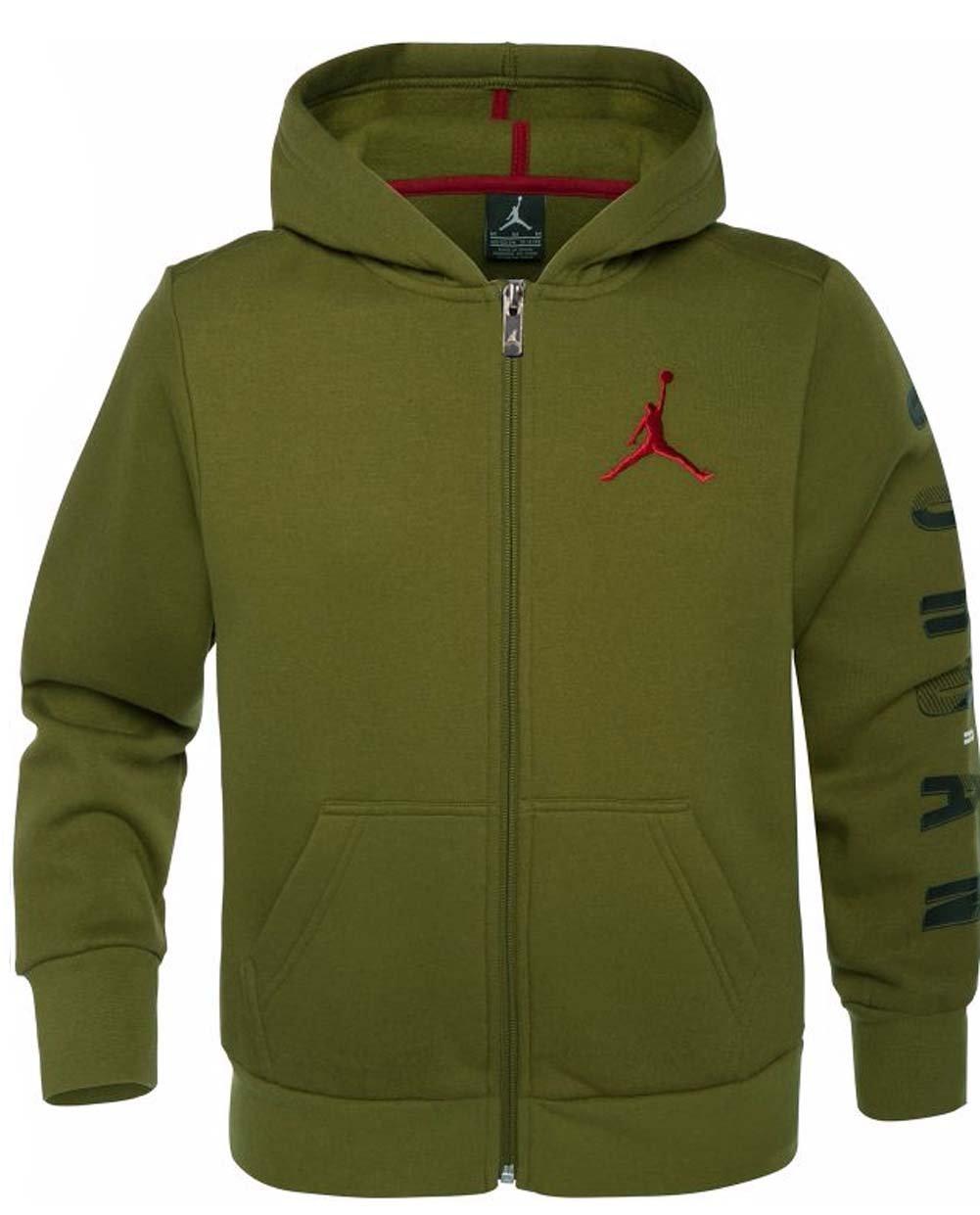 Jordan Nike Air Boys' Jumpman Graphic Full-Zip Jacket (Military Green, Small)