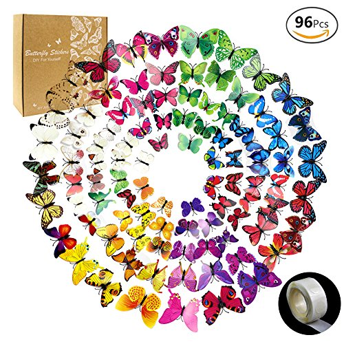 JUSLIN 96 Pcs 3D Butterfly Removable Mural Stickers Wall Stickers Decal for Home & Room Decoration, 8 Colors, with 1 Sheet of Dot Glue Stickers Per Pack - Decorative Wall Murals