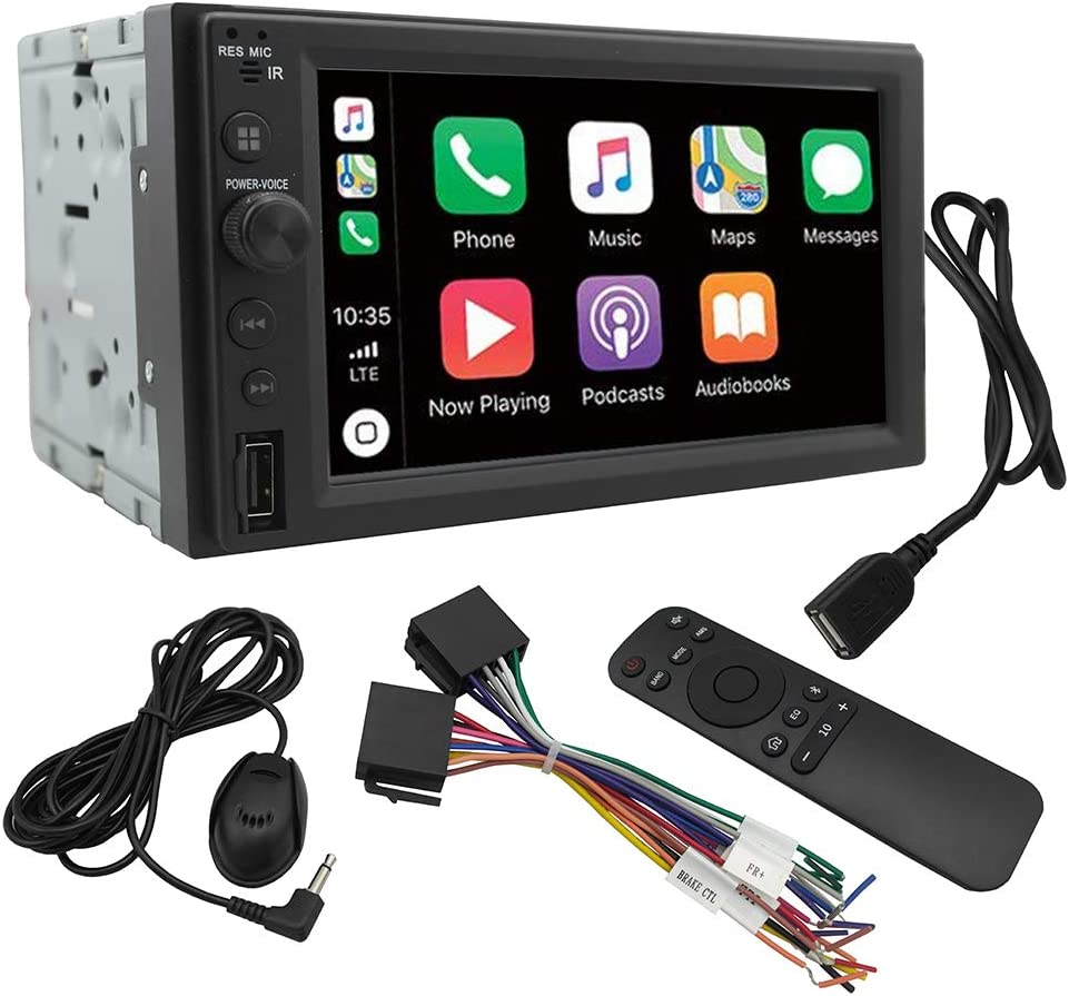 """Chaowei CW6200 2Din Car Multimedia Receiver with 6.2"""" LCD Touchscreen Compatible with Apple CarPlay, Android Auto-Car Stereo with Bluetooth,MP5 Player,2 USB Ports, A/V Input, AM/FM Car Radio"""