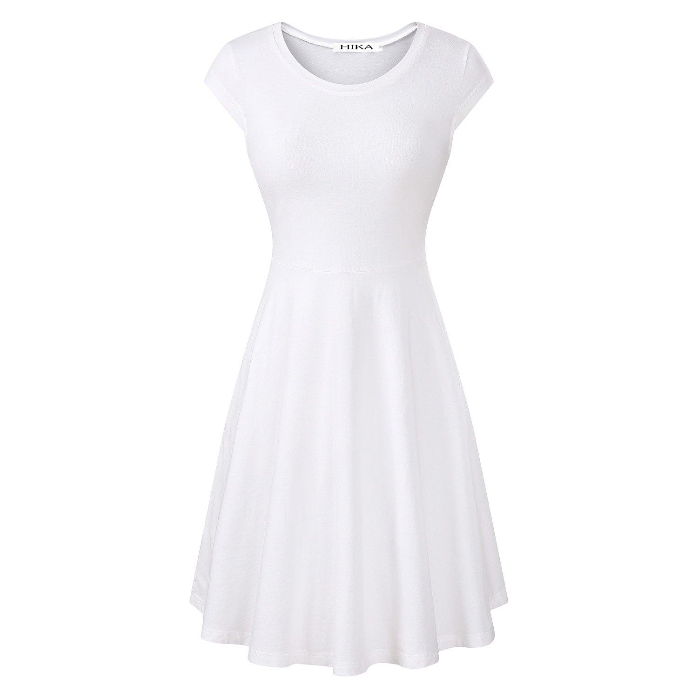 HIKA Women's Casual Elegant A Line Short Cap Sleeve Round Neck Dress (XX-Large, White)