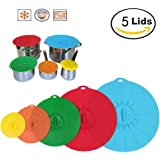 Silicone Lids Microwave Food Cover Set of 5, Food Storage Suction Lids, Reusable Seal Covers Fit Various Sizes for Cups, Bowls, Pans, Pots, Containers