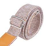Rinastore Ukulele Strap Country Style Soft Cotton Linen and Genuine Leather Ukulele Shoulder Strap (Lt Grey-US-12)