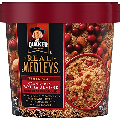 Quaker Real Medleys Instant Oatmeal, Steel Cut, Cranberry Vanilla Almond, Breakfast Cereal (12 Cups) (Packaging...