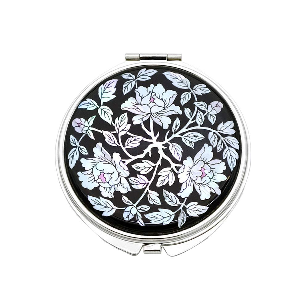 Portable Makeup Compact Double Magnifying Mirror Cosmestic Foldable Pocket Style Unique Mother of Pearl Design (Peony)