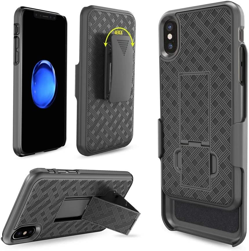 iPhone Xs/iPhone X Holster case, Combo Shell&Super Slim Case w/Built-in Kickstand and Swivel Belt Clip for Apple iPhone Xs 5.8 inch [Shockproof] (Black)