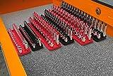 6 Piece Set - Socket Organizer Trays - Red SAE & Black Metric | 1/4-Inch, 3/8-Inch & 1/2-Inch Drive Socket Holders | Premium Quality Tool Organizers | by Olsa Tools