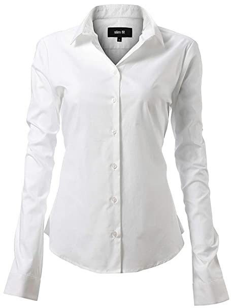 56938af3021af INFLATION Camisa de Vestir Elástica Mujer
