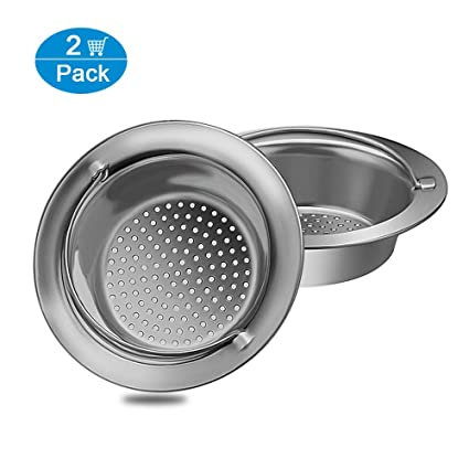 Ewadoo Kitchen Sink Drain Strainer with Handle Stainless Steel Sink Mesh  Basket Filter Strainers for Garbage Disposal - Wide Rim 4-1/3 inch Diameter  - ...
