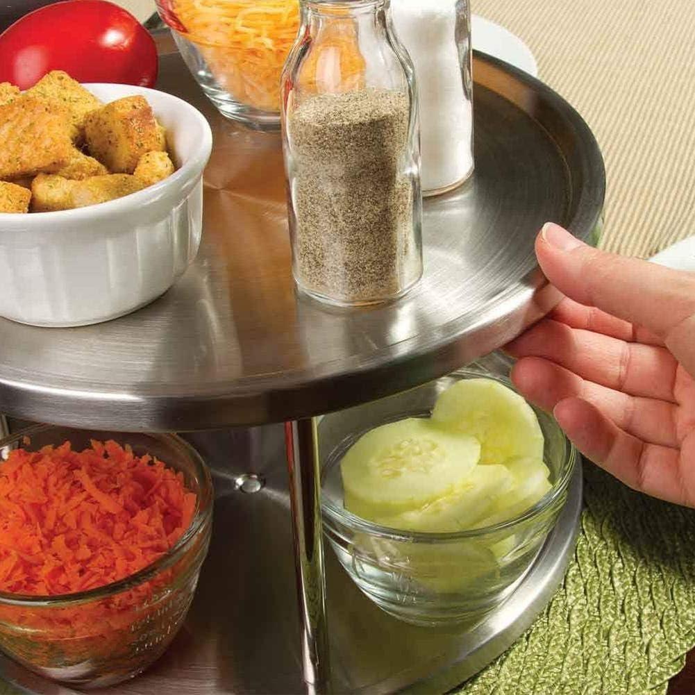 Portaspezie girevole da cucina con 2 ripiani diametro 26,5 cm in acciaio inox N\A