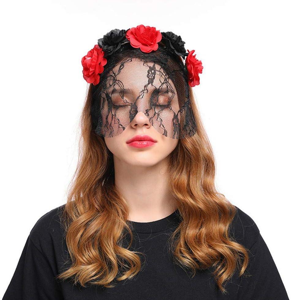Diadema Oreja de Gato Encaje Negro Velo Máscara para Cosplay Party ...