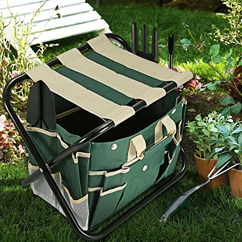 Homdox 7 Piece Garden Tool Set. Kit Includes Detachable Storage Tool Bag, Folding Stool Seat and 5 Stainless Steel Gardening Tools by Homdox (Image #7)