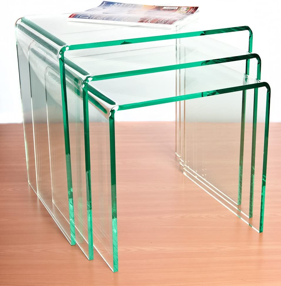 Wrights Plastics Gpx Silicon Glass Effect Acrylic Nest Of Tables Amazon Co Uk Kitchen Home