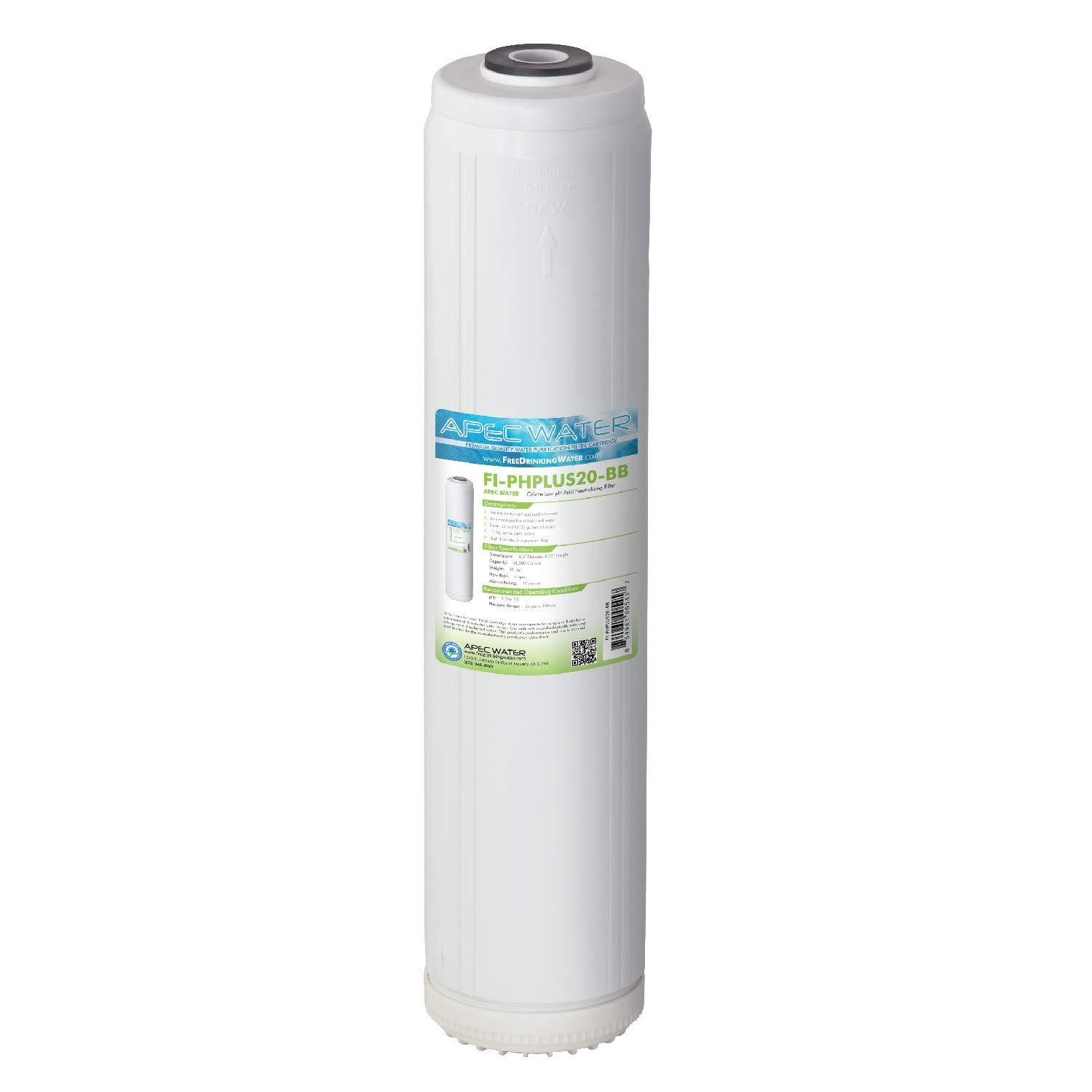 """APEC Water Systems FI-PHPLUS20-BB APEC Whole House pH+ Alkaline Calcium Mineral Cartridge-20 L x 4-1/2""""D, 10 Micron Big Blue Filter (24,000 Gallons Capacity)"""
