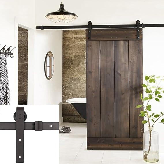 Erfect - Juego de herrajes para puerta corredera de madera, de estilo antiguo tipo establo, 2 m, color café: Amazon.es: Bricolaje y herramientas