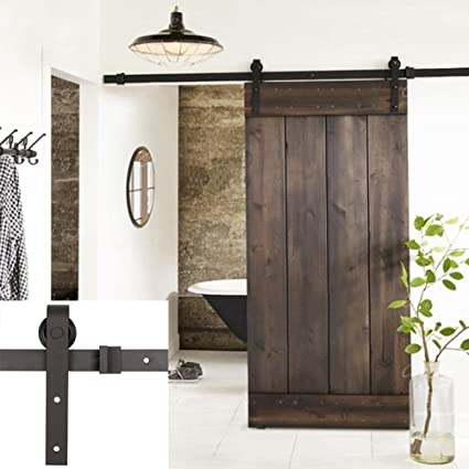 Erfect 6.6 FT Antique Style Barn Door Hardware Sliding Set Wood Door Track  Kit Black(
