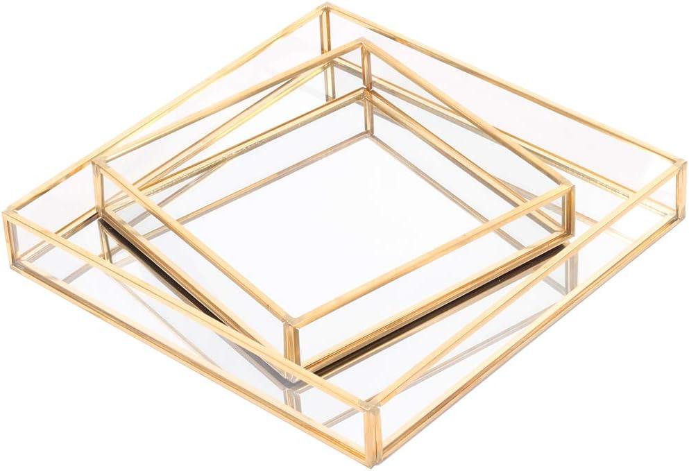 Amazon Com Koyal Wholesale Glass Mirror Square Trays Vanity Set Of 2 Gold Decorative Mirrored Trays For Coffee Table Bar Cart Dresser Bathroom Perfume Makeup Wedding Centerpieces Furniture Decor