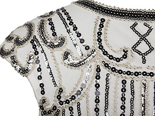 Vijiv 1920s Vintage Inspired Sequin Embellished Fringe Long Gatsby Flapper Dress,Silver White,Small Photo #7