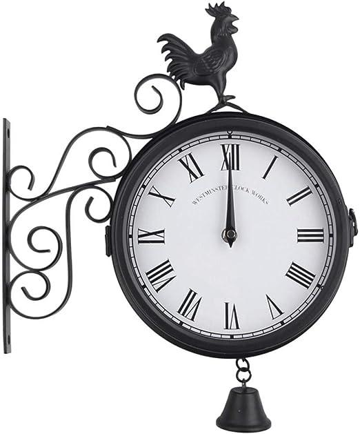 Reloj de pared de jardín de doble cara con soporte de doble cara con efecto de cobre oxidado, patrón de gallo exterior de metal reloj de jardín decoración del hogar: Amazon.es: Hogar