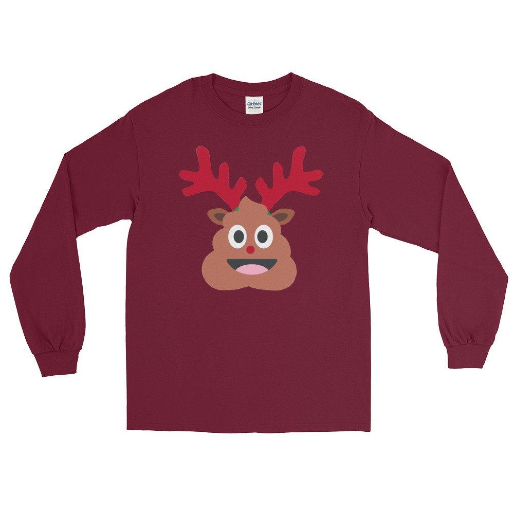 xmas reindeer poop emoji Long Sleeve T-Shirt tee shirt top