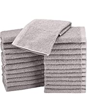 AmazonBasics Terry Cotton Washcloths - Pack of 24, Grey