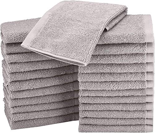 AmazonBasics Fast Drying, Extra Absorbent, Terry Cotton Washcloths, Gray – Pack of 24