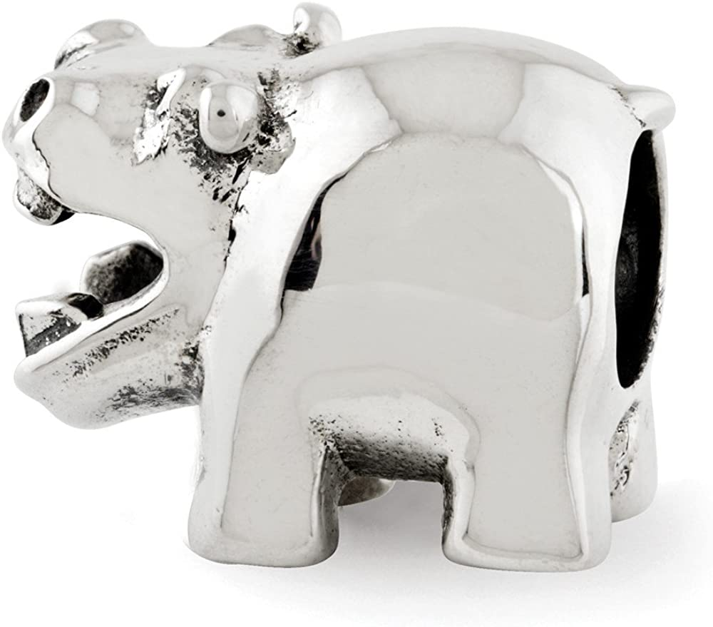 FB Jewels Solid 925 Sterling Silver Reflections Hippo Bead