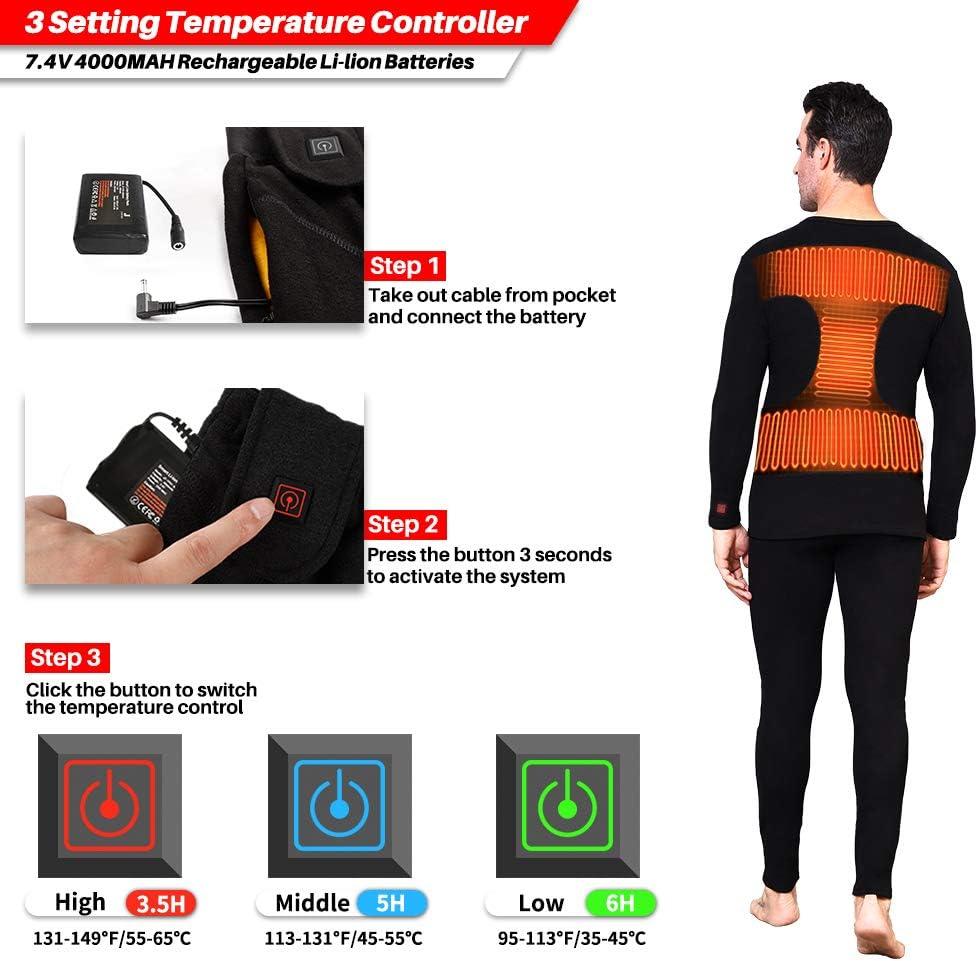 Ropa T/érmica El/éctrico Negro con Bater/ía de Litio Recargable J-Jinpei Conjunto de Ropa Interior T/érmica Calefactables para Hombre y Mujer 3XL 3 Configuraciones de Calor Tama/ño S Top + Pantalones