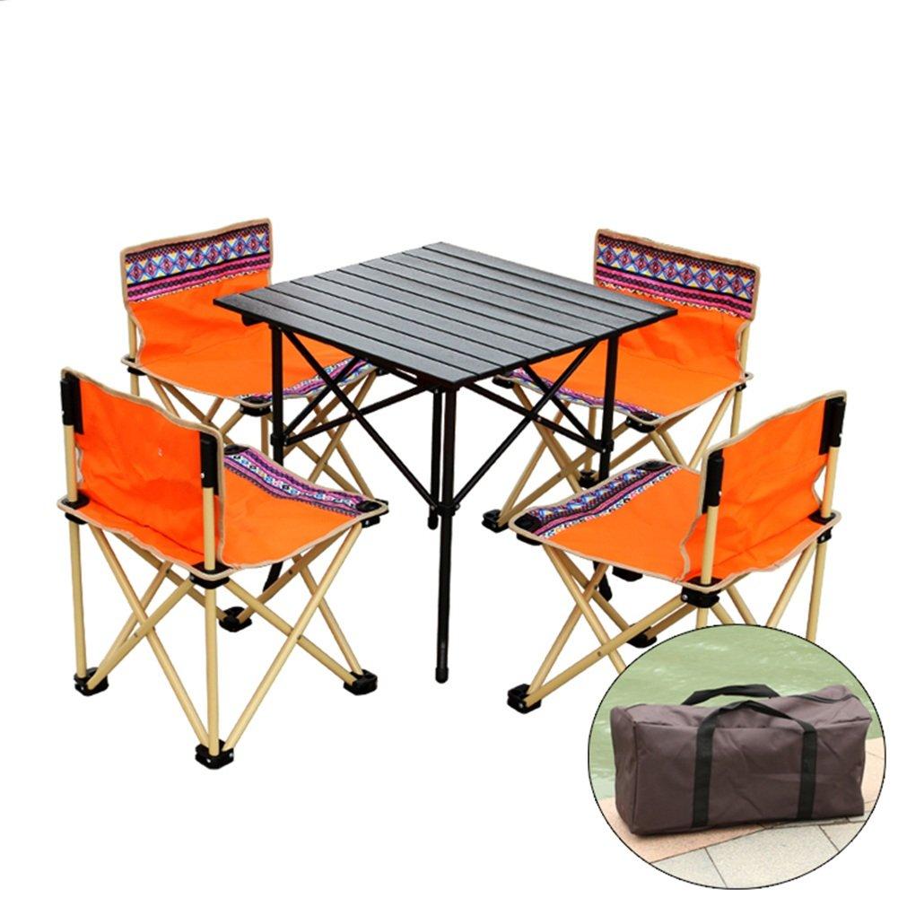 QIANGDA 屋外/アウトドア 折りたたみ テーブル4つの折りたたみチェア付き 多機能 袋に巻いた アウトドア 釣り 4-6人の場合、 2色、 M / L オプション ( 色 : オレンジ , サイズ さいず : L l ) B07CNY7CL4  オレンジ L l