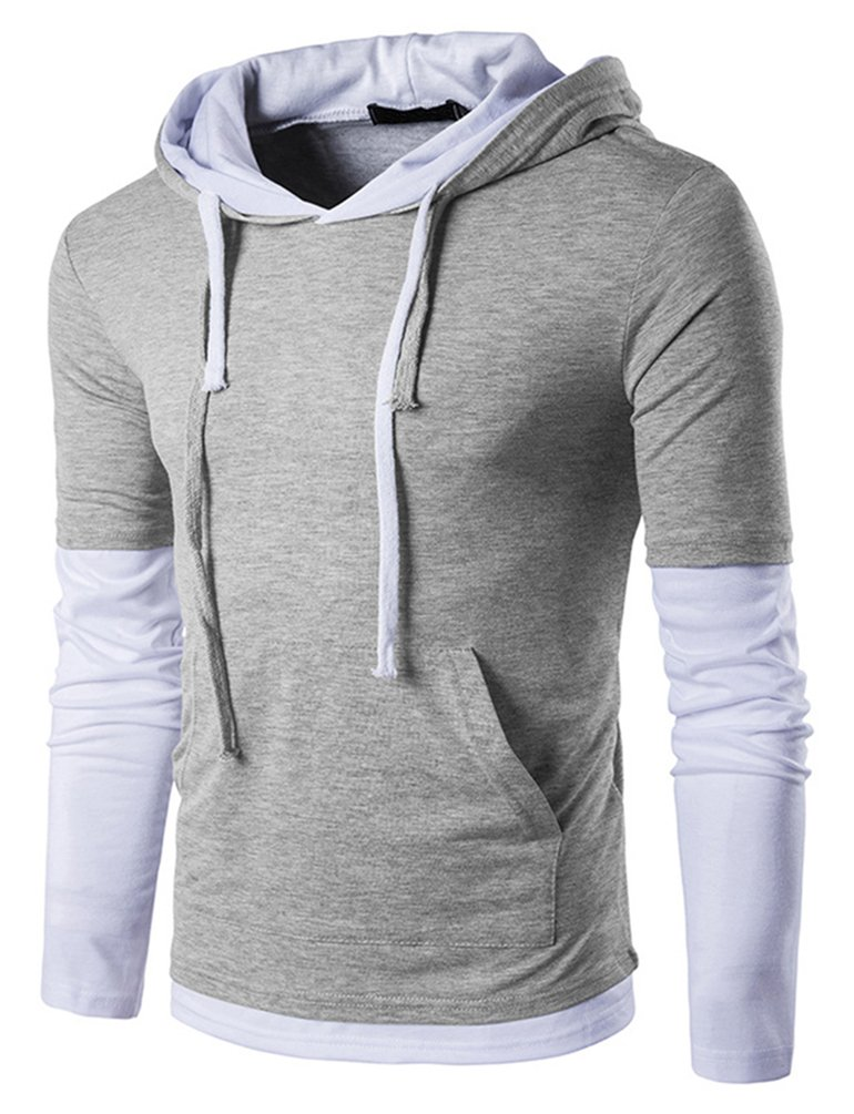 Hengta Men's Long Sleeve T-Shirt Casual Slim Fit Pullover Hoodies B26-Grey XL
