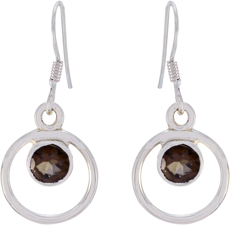 joyas plata guapo cuarzo ahumado una piedra preciosa forma redonda facetada diseñador 925 plata esterlina pendiente