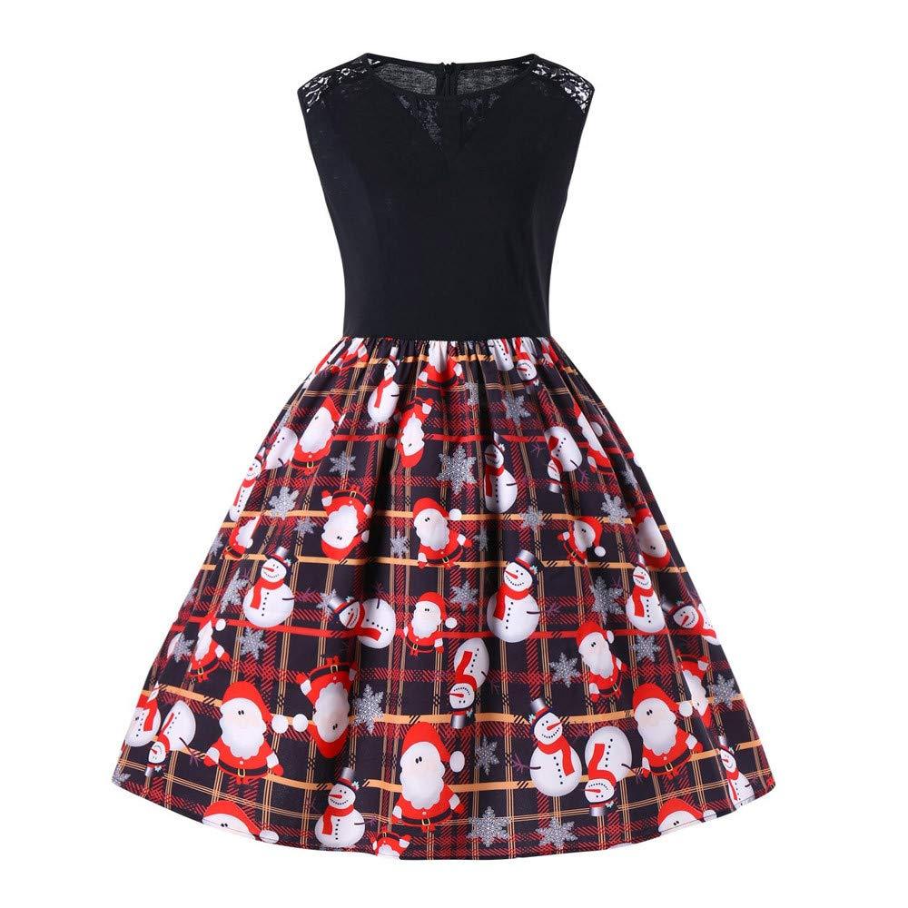 Style de Jeunesse Fantaisiez Robes de Noël Vintage Femmes Imprimé sans Manche Dentelle O-Cou Robe de Soirée de Festival Mode Vert Rouge