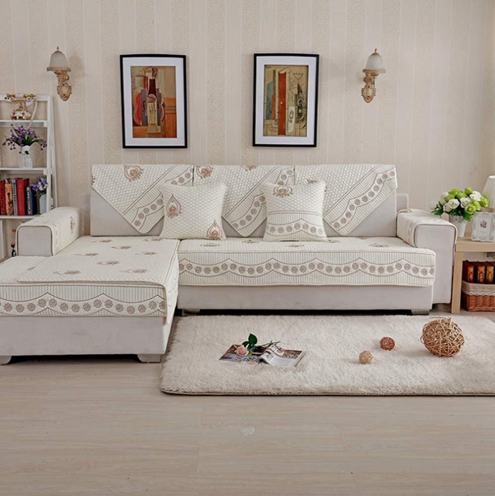 JOYS CLOTHING ソファクッション綿オールシーズンズユニバーサル滑り止めソファタオルカバー寝室やリビングルーム (Color : ホワイト, サイズ : 110*210CM) 110*210CM ホワイト B07MQPD41G