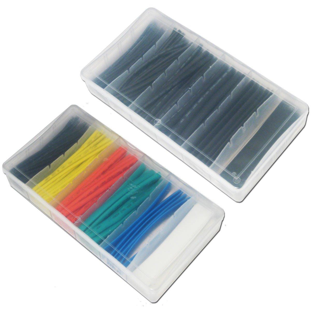 Lot de 200-2 boites de 100 noir et couleur Assortiment de gaines thermor/étractables