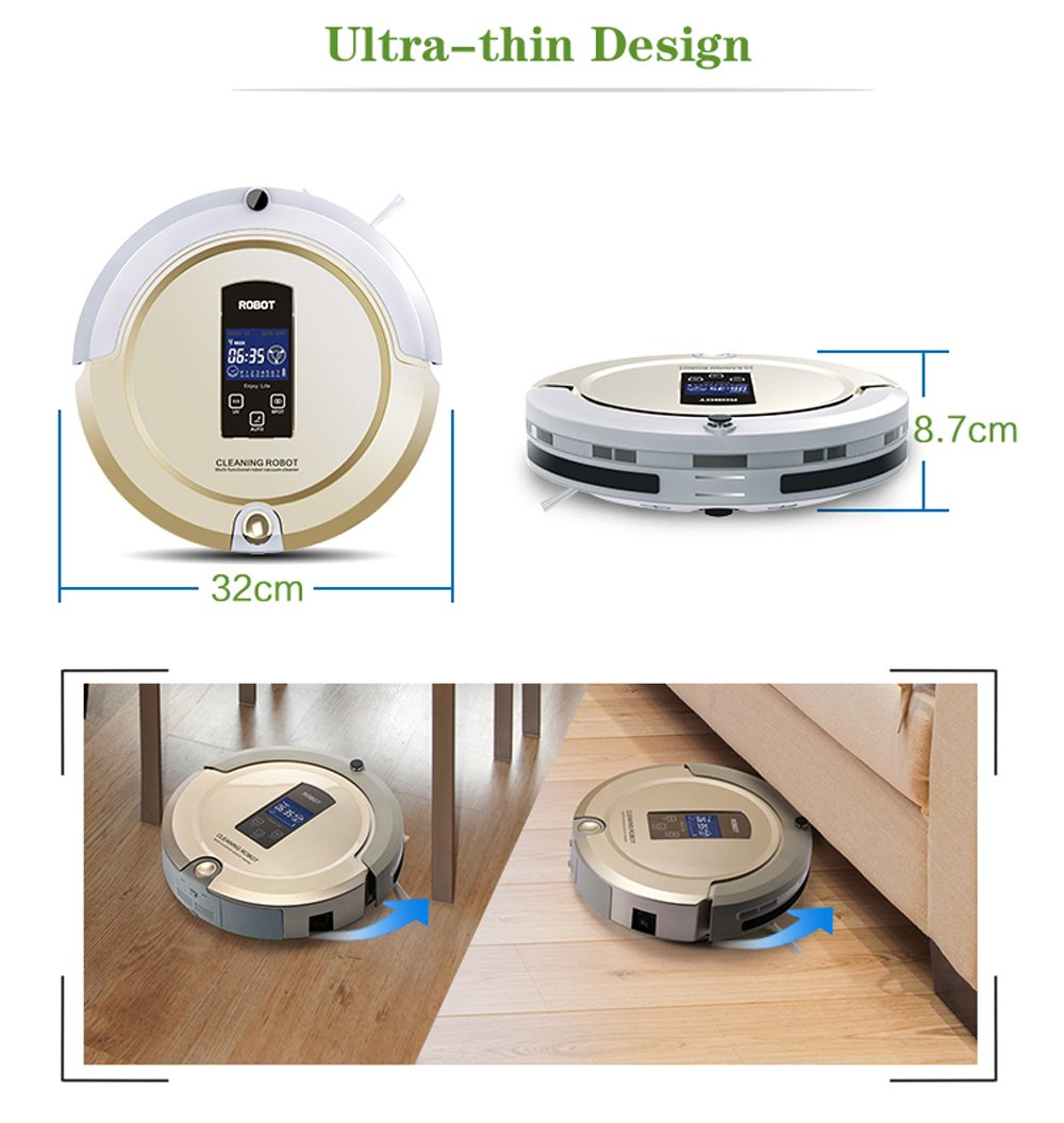 Amazon.com - AmTidy A325 Multifunction Intelligent Robot Vacuum Cleaner with Sweep Vacuum Mop Sterilize LCD Touch Screen Schedule Self-charge (Champagne) -