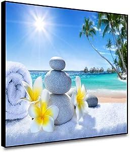 shensu Framed Canvas Wall Art Ocean Beach Zen Stones Prints Sunshine Spring Summer Landscape Plumeria Flowers Wall Decor for Bathroom Living Room Bedroom Office Modern Home Decoration 18x12inch
