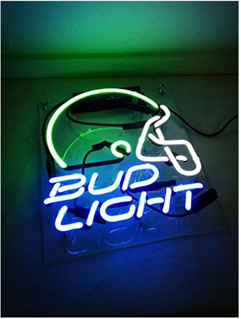 Neon Sign Helmet Shaped Neon Bud Light Wall Decorative Signs Handmade Glass Night Light for Bar Store Kids Bedroom Decor 10 x 8 Blue