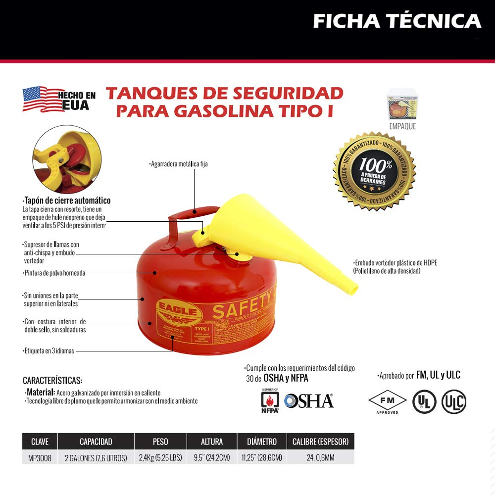 11.25 in Diameter 2 Gallon Capacity Eagle UI-20-FS Red Galvanized Steel Type 1 Gasoline Safety Can with Funnel 9.5 in Height