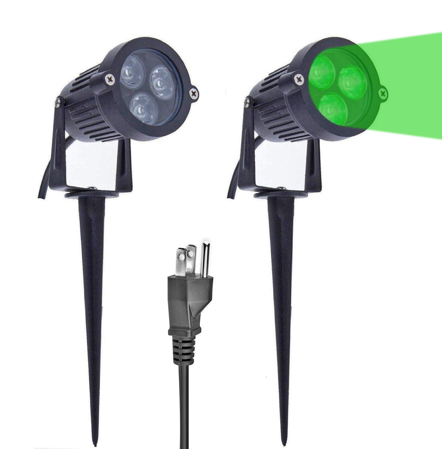 Lemonbest Pack of 2 Outdoor Water-resistant LED Lawn Garden Landscape Lamp Wall Yard Path Patio Lighting Spot Lights Green AC Spiked Stand with Power Plug by LemonBest