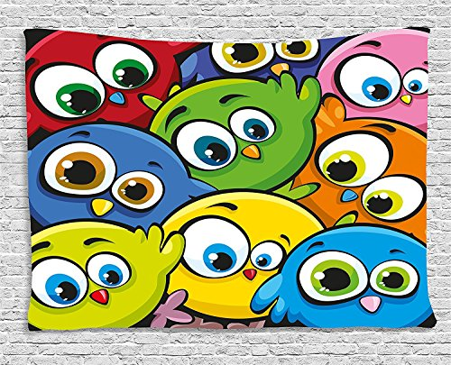 Funny Tapestry, Cartoon Fat Chubby Birds Baby Kids Nursery Playroom Childish Animal Character Print, Wall Hanging for Bedroom Living Room Dorm, 80 W X 60 L Inches, Multicolor by asddcdfdd