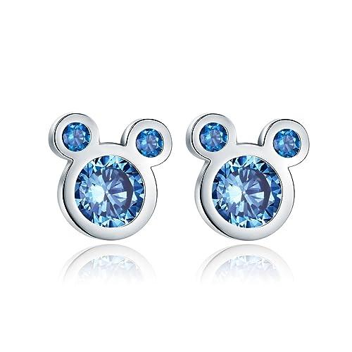 ab2f42dc49d8 Shysnow Niñas Mini Stud Pendientes con Azul Circonitas Cúbicas Regalo de  Cumpleaños para Hija  Amazon.es  Joyería