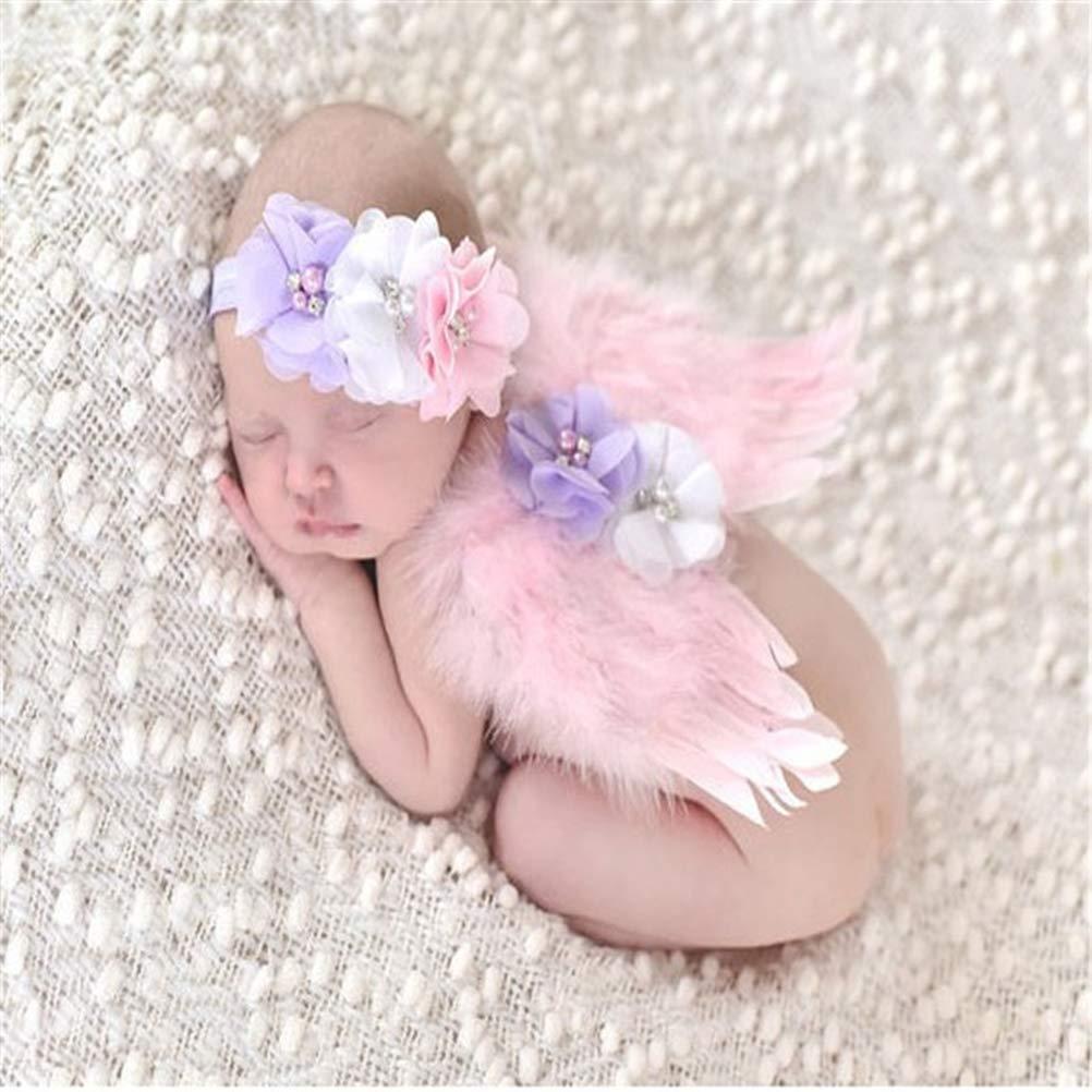Neugeborene Fotografie Requisiten TOYMYTOY Angel Wings Anzug mit Stirnb/änder Pink