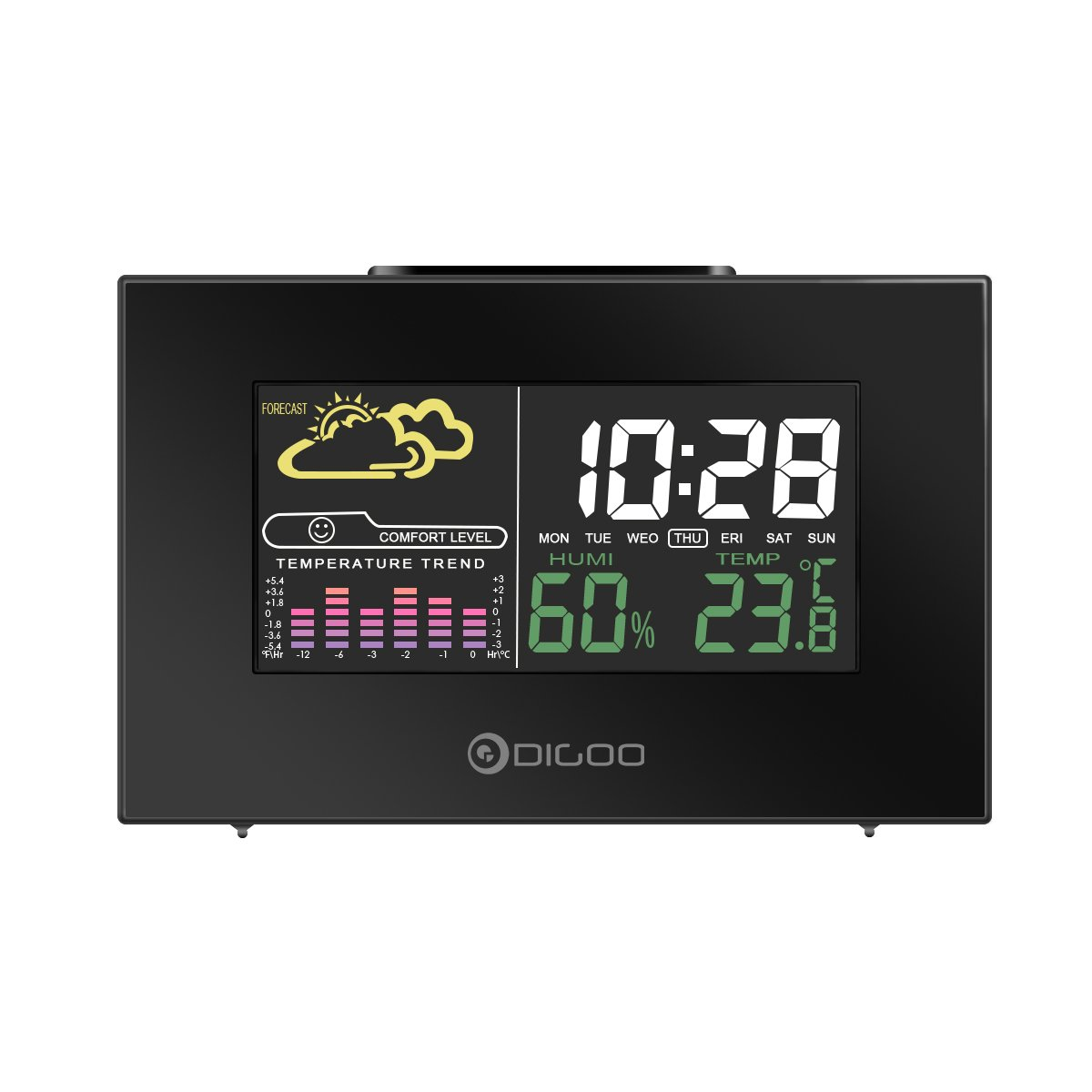 DIGOO DG-C3 Wireless USB Hygrometer Thermometer Alarm Clock, Weather Forecast Station with Color Backlit, LCD Screen, Temperature&Humidity Display DIGOOWuulihui146